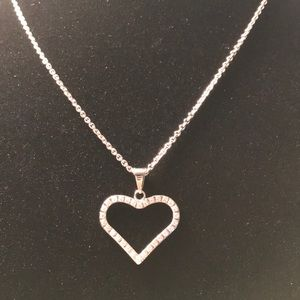 Stainless Steel Chain w/ heart w/ clear cz